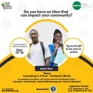 Read more about the article Beyond School Community Challenge for Secondary School Students in Nigeria 2021 (N1.5 Million Prize)