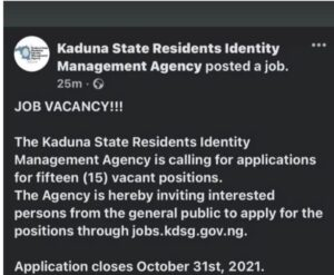Read more about the article Kaduna State Residents Identity Management Agency 2021 Recruitment